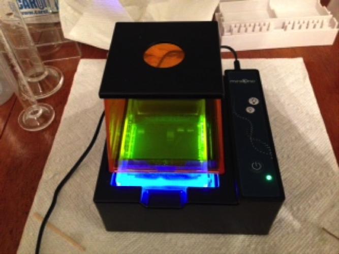 DIY Bio - Gel results can be seen through the hood immediately.